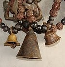Shaman Necklace w Seed and Old Bell Pendants - Nepal