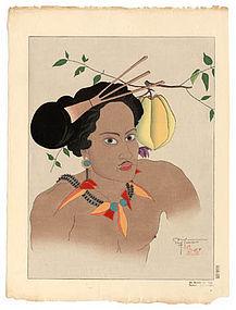 Paul Jacoulet, 1935. Un Homme De Yap.