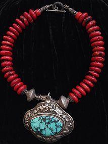 Tibetan Turquoise Amulet