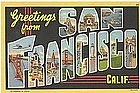 SAN FRANCISCO Linen Postcard  1938