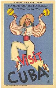 """Visit Cuba"" Postcard, Curt Teich 1941"