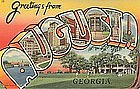 Linen Postcard, Greetings From Augusta, Curt Teich