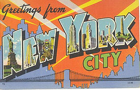 Linen Postcard, Greetings From New York City