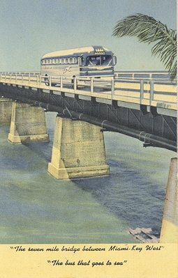 Linen Postcard, Greyhound Bus to Key West, Curt Teich