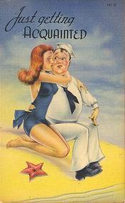"""Just Getting Acquainted"" Linen Postcard, Tichnor"