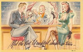 """Meet The Best Cocktail Shaker In Town"" Linen Postcard"