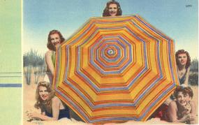 """Girls With Beach Umbrella"" Linen Postcard"