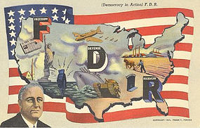 """Democracy In Action"" Linen Postcard, Curt Teich 1941"