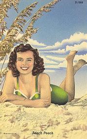 """""""Beach Peach"""" Vintage Linen Postcard, Curt Teich"""