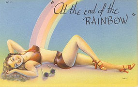 """At the end of the Rainbow"" Linen Era Postcard, Tichnor"