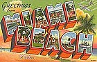 """Greetings from Miami Beach"" Linen Postcard, Curt Teich"