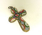 Vintage Micro Mosaic Italy Cross Pendant