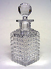 Vintage Crystal Decanter Square Block Pattern