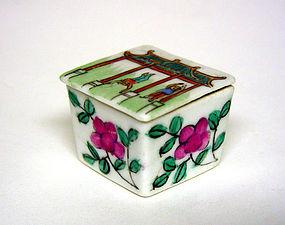 Vintage Chinese Export Porcelan Covered Salt  Cellar