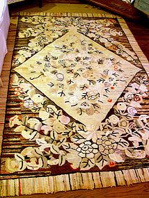 Antique American Folk Art Hooked Rug