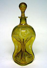 "Bohemian Amber Glass ""Pinch Bottle"" Decanter"