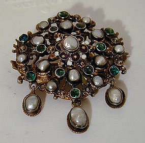 An 18th Century Pearl and Stone Brooch