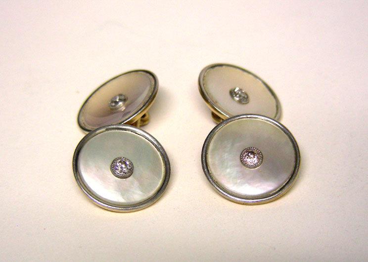 Vintage Platinum, Gold, MOP and Diamond  Cuff Links
