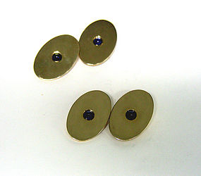 Vintage 14K Gold And Sapphire Two-Sided Cufflinks