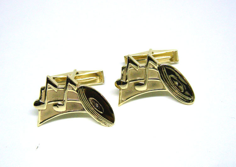 Vintage 14K Gold Musical Theme Cuff Links