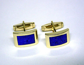 Vintage 14K Gold and Lapis Toggle Back Cufflinks