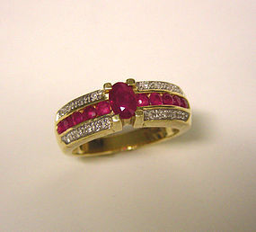 14K Gold Ruby and Diamond Ring By Igor Faberge