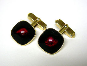 Vintage Ruby Red Cabochon Cuff links By Swank