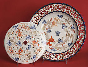 Antique Japanese Imari Flower Arranger Plate and Inset, Meiji Period