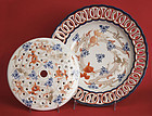 Antique Japanese Imari Flower Arranger Plate and Inset, Meiji Period