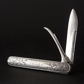 Antique STERLING SILVER Folding Fruit Pocket Knife