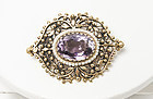 Vintage 14K  Gold Amethyst and Seed Pearl Brooch