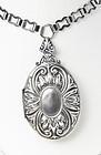 Large ART DECO Silver Locket Necklace