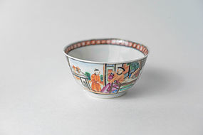 Chinese Export Rose Mandarin Tea Bowl