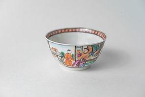 Chinese Export Rose Mandarin Tea Bowl