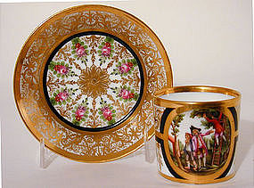 Old Paris Porcelain Coffee Can and  Saucer