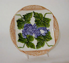 Vintage French Majolica Plate With Grape Motif