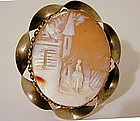 A 19th Century Victorian Shell Cameo Brooch