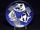 Vintage Japanese Imari Blue & White Plate,