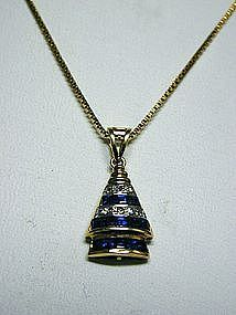 A 14K Yellow Gold, Diamond and Sapphire Pendant