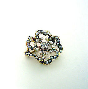 Victorian 14k Gold, Seed Pearl & Diamond 
