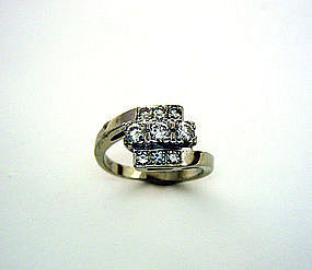 Vintage 14k White Gold And Diamond Ring