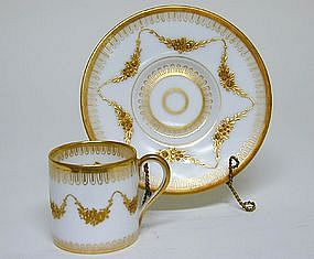 Hand Painted Dresden Demitasse Cup And 
