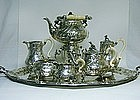 Antique Sterling Tea Service And Tray, Ca 