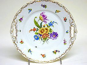 Antique Dresden Flower Cake Plate, 