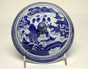 Chinese Export Blue And White Porcelain Lid Cover