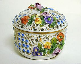 Vintage Dresden Covered Box With  rosebud Finial