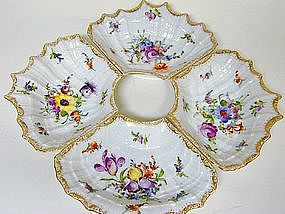 Dresden Four-part Hors D'oeuvres Dish,  c1891