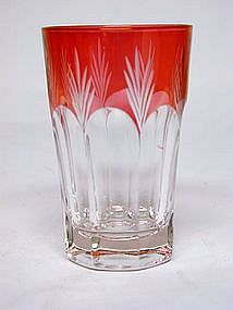Four Ruby Flash Glass Tumblers, C.1890