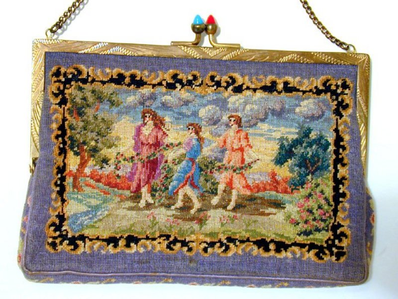 Vintage Austrian Pettipoint/tapestry Evening Bag