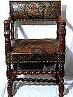 Cromwellian-style Oak And Embossed  armchair
